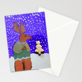 Moose with Tea Stationery Cards