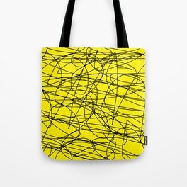 Yellow with black scribbling lines, less is more Tote Bag