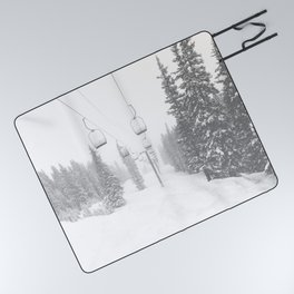 Empty Chairlift // Alone on the Mountain at Copper Whiteout Conditions Foggy Snowfall Picnic Blanket