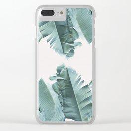 Blue Tropical Banana Leaf Plant Clear iPhone Case