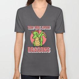 Girl Love Dragons Kids Unisex V-Neck