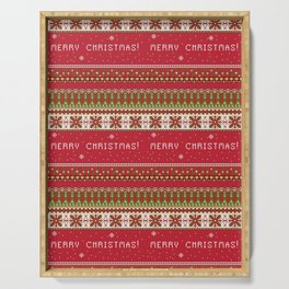 Traditional Merry Christmas Festive Print - Red / Green / White - Stitching / Ugly Sweater / Jumper Serving Tray