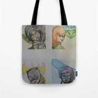 dc comics Tote Bags featuring DC: Batgirls by aka-noodle