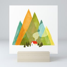 House at the foot of the mountains Mini Art Print