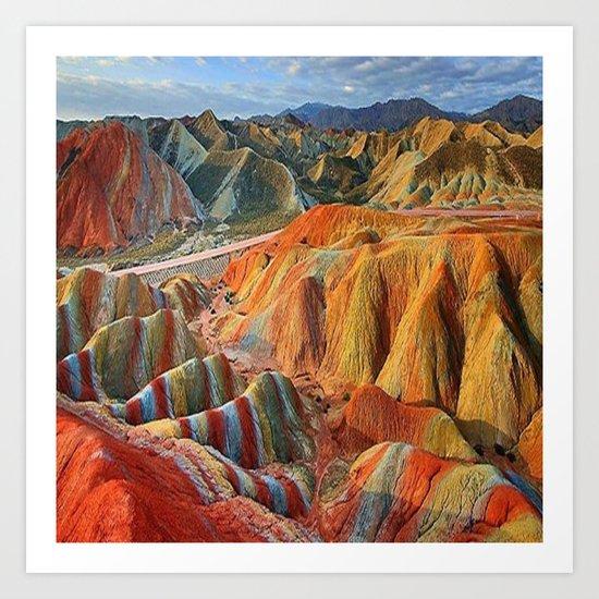 colours mountains Art Print