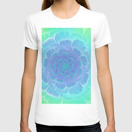 Romantic blue and green flower, digital abstracts T-shirt