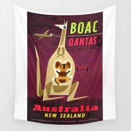 1960 Australia New Zealand BOAC  Qantas Advertising Poster Wall Tapestry