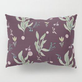 Modern burgundy pink pastel green watercolor floral Pillow Sham