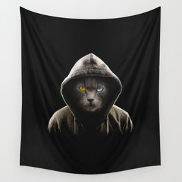 Cool Black Cat Hooded Pullover Wall Tapestry