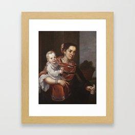 Juan Patricio Morlete Ruiz (attributed to) - Casta Painting (From Spaniard and Morisca, Albino) Framed Art Print