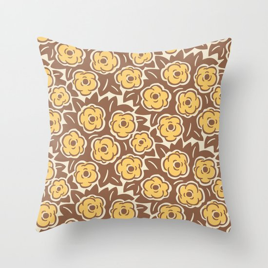 Flower Bouquet Pattern Yellow and Brown by tonymagner