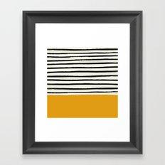 Fall Pumpkin x Stripes Framed Art Print