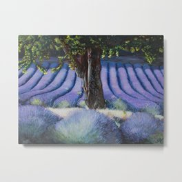 Lavender Field with Apple Tree Metal Print