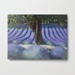 Lavender Field with Apple Tree Metal Print