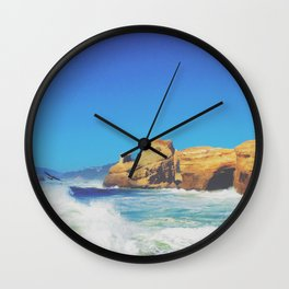 Cape Kiwanda Crashing Waves Wall Clock