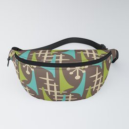 Mid Century Modern Atomic Wing Composition 55 Brown Chartreuse and Turquoise Fanny Pack