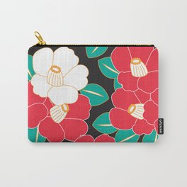 Japanese Style Camellia - Red and Black Carry-All Pouch