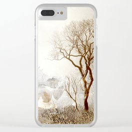 Loch Lovely Abstract Art in Cinnamon and Taupe Clear iPhone Case