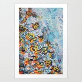 Orange in turquoise Art Print