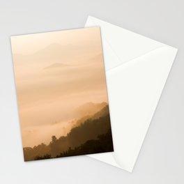 Modern Minimalist landscape Sepia Sunset Parallax Mountain Silhouette Stationery Cards