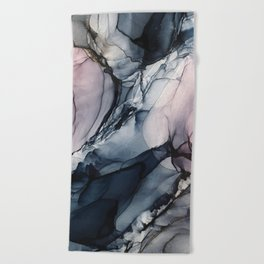 Blush, Navy and Gray Abstract Calm Clouds Beach Towel