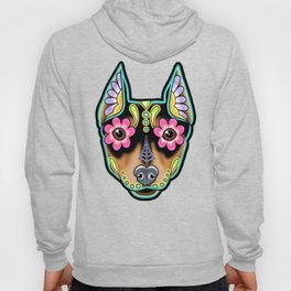 Min Pin Day of the Dead Miniature Doberman Pinscher Sugar Skull Dog Hoody