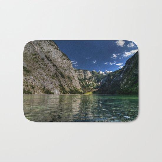 Mountain lake- Alpes Nature Outdoors Mountains Alpes - #Society6 Bath Mat