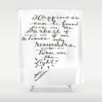 dumbledore Shower Curtains featuring Happiness - Dumbledore  by Hayley Lang
