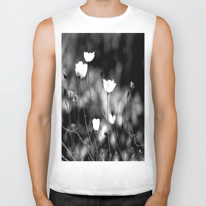 White Poppy Flowers in Black and White #decor #society6 Biker Tank