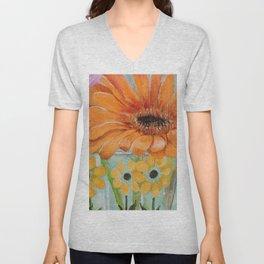 Gerber Daisy Retro Glass Painting Unisex V-Neck