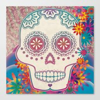 calavera Canvas Prints featuring Calavera by Marie St. Claire