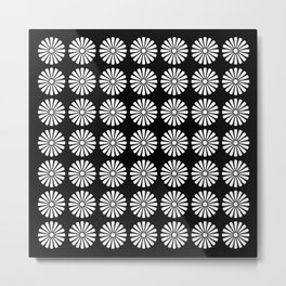 Black And White Flowery Daisy Pattern Metal Print