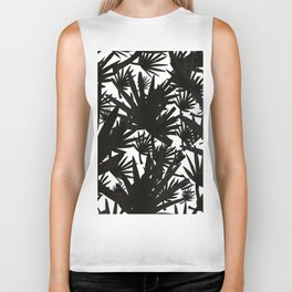 Modern black white abstract tropical leaves pattern Biker Tank