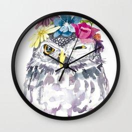 Watercolor Floral Owl Wall Clock