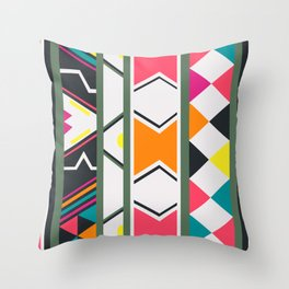 Ndebele pink and green Throw Pillow