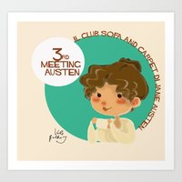 jane austen Art Prints featuring Jane Austen 3RD meeting Austen by Vale Bathory