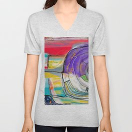 Abstract Summer Land Unisex V-Neck