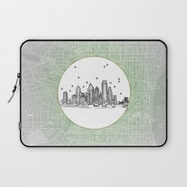 Philadelphia, Pennsylvania City Skyline Illustration Drawing Laptop Sleeve