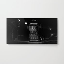 Stairs in Brooklyn at night, New York, black and white (2020-5-GNY117) Metal Print