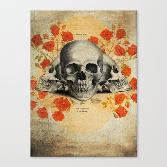I Became Insane... Edgar Allan Poe Skull Print Canvas Print