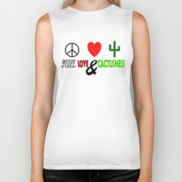 Peace, Love & Cactusness Biker Tank