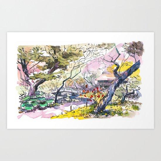 Japanese garden sketch Art Print