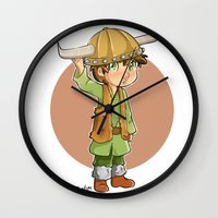 hiccup Wall Clocks featuring chibi hiccup by theginga15