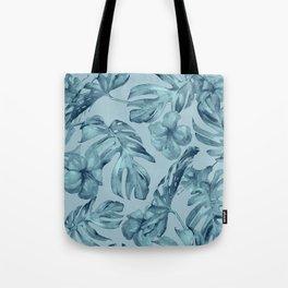 Hawaiian Teal Sea Island Leaves + Flowers Tote Bag