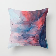 Watercolor shadow red & blue, abstract texture Throw Pillow