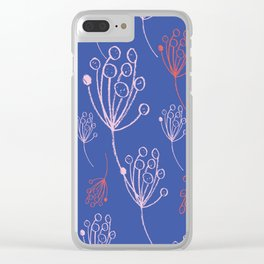 floral blue chalk contemporary Clear iPhone Case