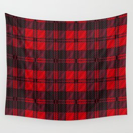 Dark Red Tartan Wall Tapestry