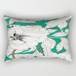 green peonies Rectangular Pillow
