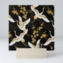 flower bird traditional patterns in japanese design - yellow on black background by liemduy
