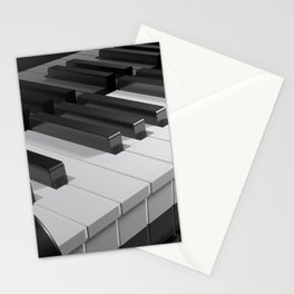 Keyboard of a black piano - 3D rendering Stationery Cards